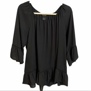 New Directions Black Peasant Blouse